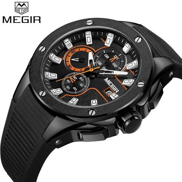 Relogio Masculino MEGIR Men Watch Top Luxury Brand Chronograph Calendar Sports Wristwatch Military Army Rubber Male Clock 2053
