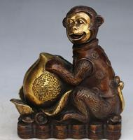 Rare Old copper carving Statue/Sculpture ornaments Lucky monkey holding peach,handmade crafts,best collection & Adornment