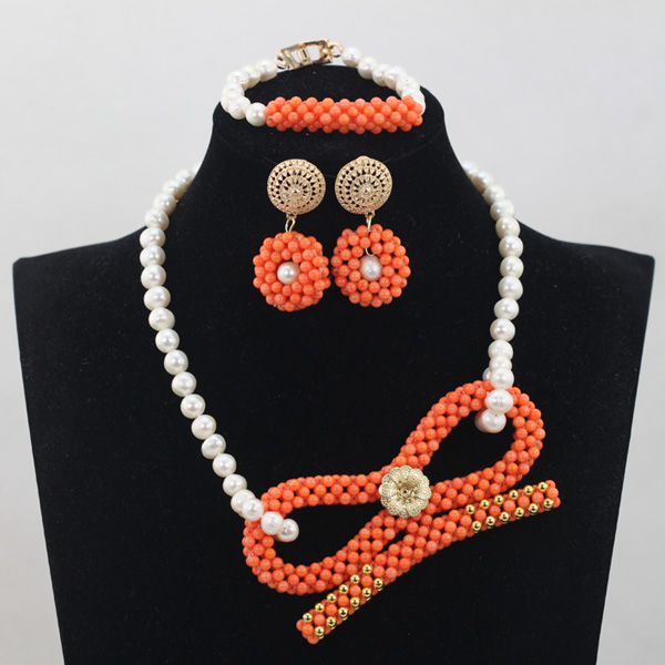 Original orange coral pendant necklace wedding jewelry set elegant original orange coral pendant necklace wedding jewelry set elegant freshwater pearl necklace earrings set free shippingabh021 in jewelry sets from jewelry mozeypictures Image collections