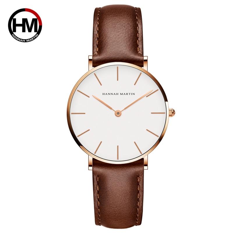 Japon mouvement marron cuir horloges vrouwen cadran blanc femmes Top marque luxe étanche montre relogio feminino zegarek damski
