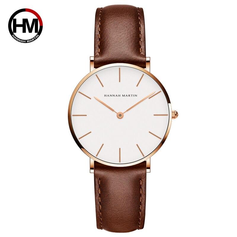 Movimiento de Japón de cuero marrón relojes esfera blanca mujeres Top marca de lujo impermeable reloj relogio feminino zegarek damski