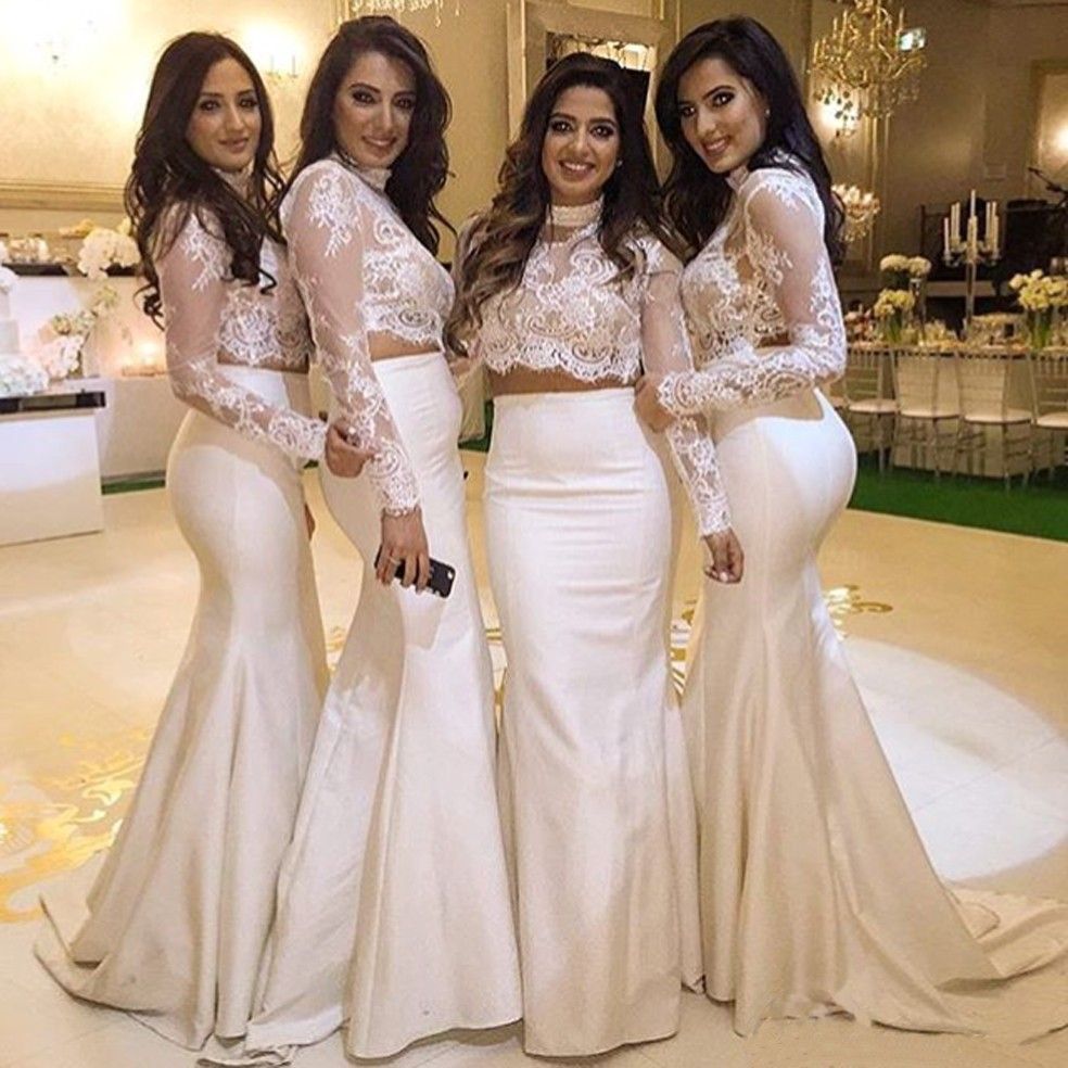 In Fashion White Satin Two Piece Mermaid   Bridesmaid     Dresses   2019 High Neck Appliques Lace Sweep Train Wedding Party Gowns