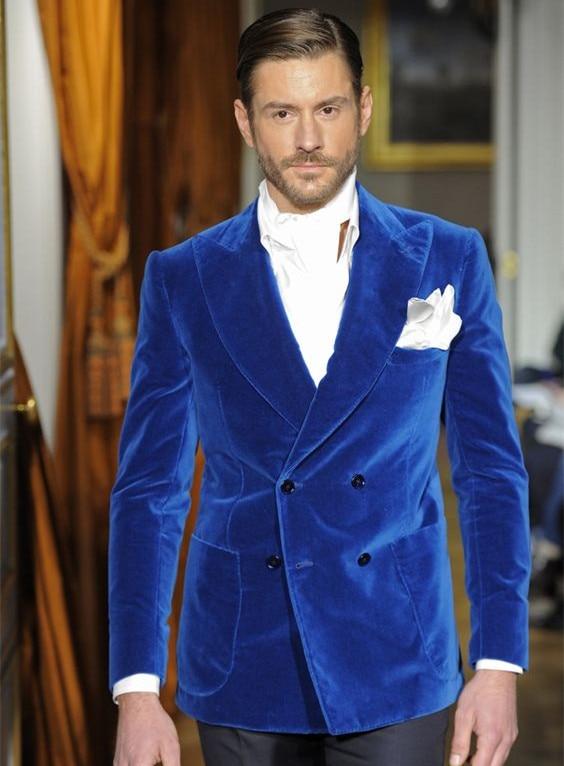 Hombres Azul Color color Del chaqueta Moda La Bespoke Traje Boda Terciopelo Pantalones Hombre As Prom Chart Cena Picture Blazers satin Trajes Para Mejor Homme Novio 7Bq5wB