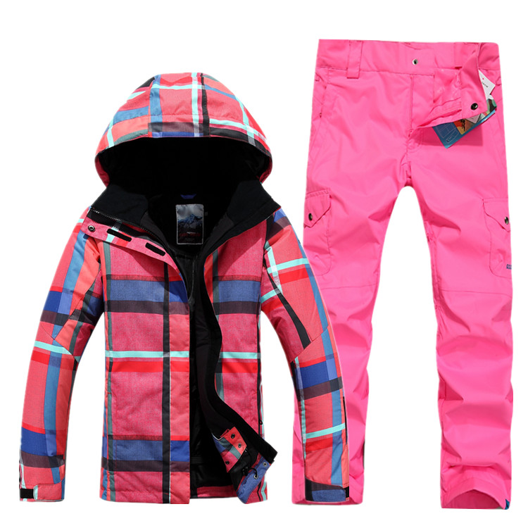 Gsou snow women's ski suit female skiing set outdoor outerwear snowboarding suit pink and blue grid jacket and rose red pants brand gsou snow technology fabrics women ski suit snowboarding ski jacket women skiing jacket suit jaquetas feminina girls ski