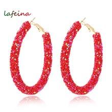 Brand New Design Fashion Charm Austrian Crystal Hoop Earrings Geometric Round Shiny Rhinestone Big Earring Jewelry Women
