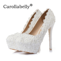 8cm/10cm/12cm/14cm Women Fashion Sweet White Flower Lace Platform High Heels Pearls rhinestone Wedding Shoes Bride Dress Shoes