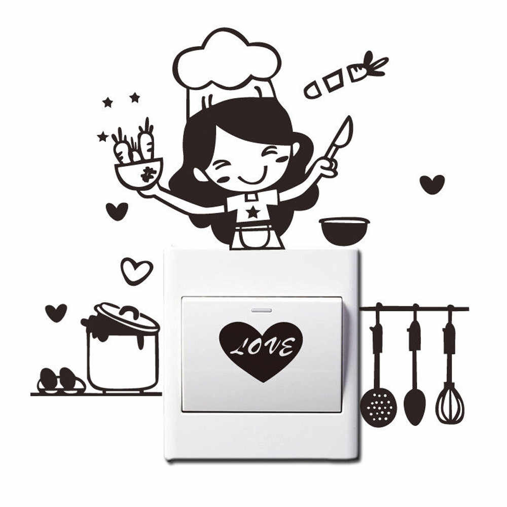 Home decoration Switch Panel Wall Sticker Kitchen Light Switch Sticker Cute Cook Vinyl Wall Decal Home Decor aug
