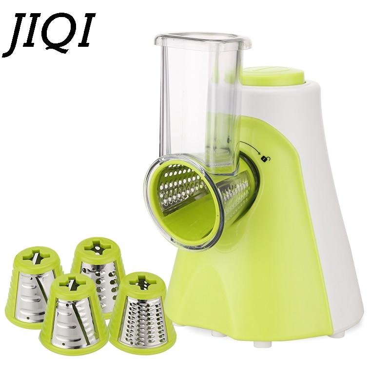 JIQI Multifunctional Electric Fruit Vegetable Slicer Cutter Carrot Potato Cutting Machine Stainless steel Blade Salad Chopper EU
