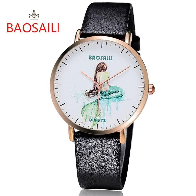 Baosaili топ модный бренд Русалка простой мультфильм шаблон позолота случае серии Очаровательный Фантазии Для женщин кварцевые часы bs1013
