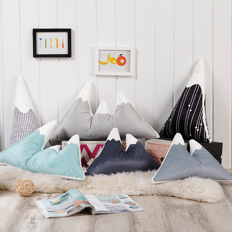 Fashion Lovely Mountain Peak Shape Cushion Pillow Bed Decoration Calm Sleep Dolls Plush Toys Nordic Kids Room Decor Photo P купить