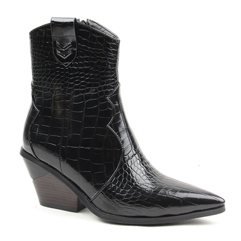 Brand Fashion Embossed Microfiber Leather Women's Ankle Boots 1