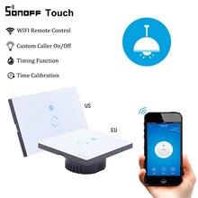 SONOFF Touch EU US Wifi Smart Wall Light Switch 1Gang Wireless eWeLink APP Remote Control Glass Panel Work with Alexa GoogleHome