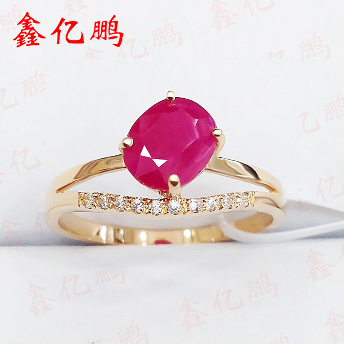 18 k gold inlaid natural Burmese ruby ring female 1.5 carats 18 k gold natural ruby jewelry set
