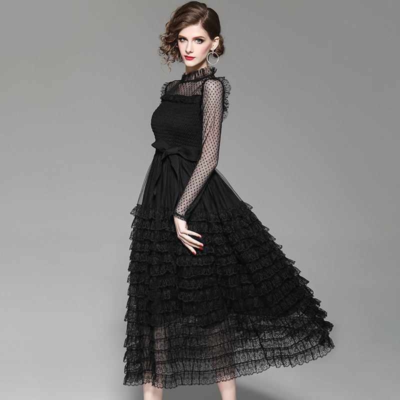 Brand Runway Designer Spring Dress 2019 Women Fashion Long Sleeve Black Sexy Dress Elegant Ruffles Layered Midi Lace Party Dress-in Dresses from Women's Clothing    2