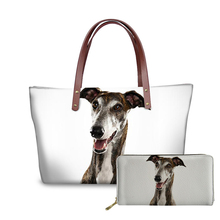 NOISYDESIGNS Shoulder Bag Greyhound Pet Dog 3D Printing Women Handbags 2pcs/set Long Wallets and Hand Casual Top-handle Bags