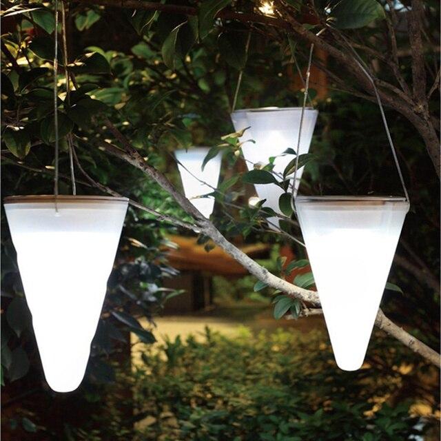 4pcs Outdoor Led Solar Lights Cone Shape Waterproof Garden Decorative Lamp Lighting Camping