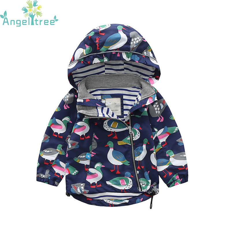 2018 New 90-140cm Children Cute Animals Print Baby Clothes For Jacket Boys Girls Kids Outerwear Windbreaker Hooded Coat Clothing
