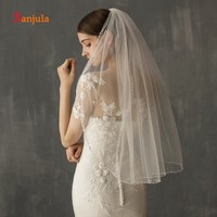 Handmade Beaded Edge Bridal Veils Short One Layer White/Ivory Tulle Elbow Length Veil with Comb accesorios para boda V129