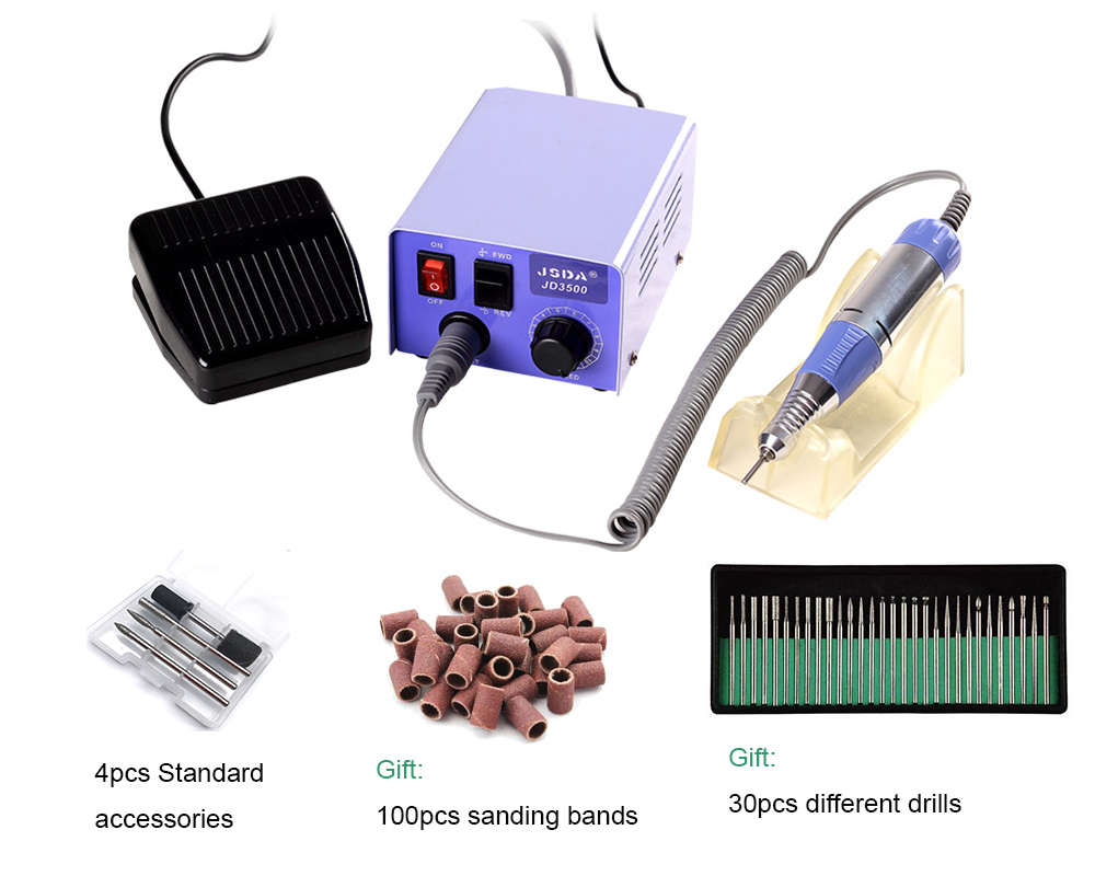 JD3500 Micro precisionGrinding Machine, 35w 30000rpm Electric Nail Art Drill Machine Manicure and Pedicure цена