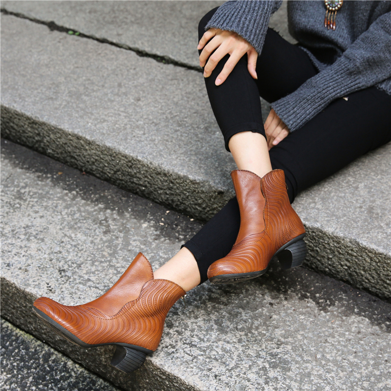 Women Genuine Leather Ankle Boots Black 5 CM High Heels Autumn Shoes Handmade Women Leather Martin Boots Brand Retro Shoes Sale цены онлайн