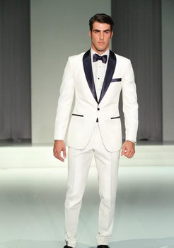 2016 High quality Custom made White Shawl lapel One button groom suits man's Business suits ( jacket+Pant+bowtie)