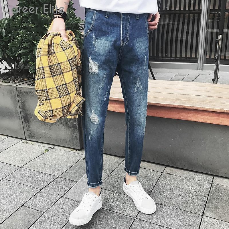 Новые 2018 Тонкий прямые синие джинсы Для мужчин Винтаж средней посадки потертой джинсы новый Для мужчин s брюки полной длины джинсы Pantalon Homme Ж... ...