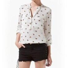 Fashion Blouses Animal Printed  V-neck Button Leisure Long Sleeve Women's Chiffon Shirt Tops