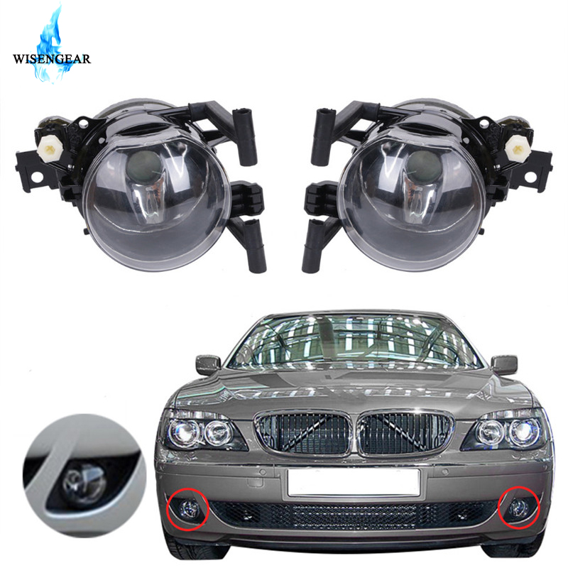 WISENGEAR Car Front Fog Lights Lamps Housing Lens Clear For <font><b>BMW</b></font> E65 E66 7 Series <font><b>745i</b></font> 750i 760i 2005 2006 - 2008 63176943415 / image