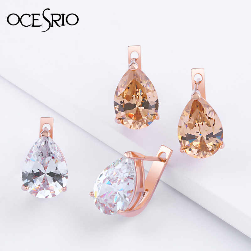 Ocesrio 585 Emas Perhiasan Anting-Anting dengan Batu CZ Rose Gold Stud Anting-Anting Wanita Anting-2019 Perhiasan Korea Ers-p65