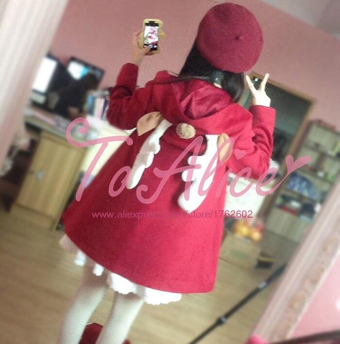Y Navidad Largo Color Mezcla Lana Cuerno De Rojo Linda Reindeer Outwear Invierno Kawaii Cabo Cola qtpdxFSqw