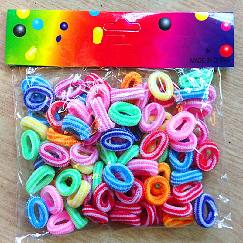 100 Pcs Per Lot Ring Hair Bands Girls Colorful Elastic Hair Rope Tie Gums Kids Rubber Band Ponytail Holder Hair Accessories