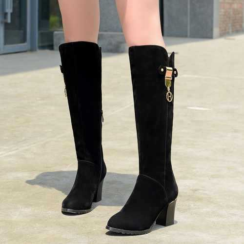 8be8732333d Factory Discount Pretty Ladies Thick High Heel Solid Zip Long Shoes  Attractive Round Toe Knee High Boots Girls Knight Boots -in Knee-High Boots  from Shoes ...