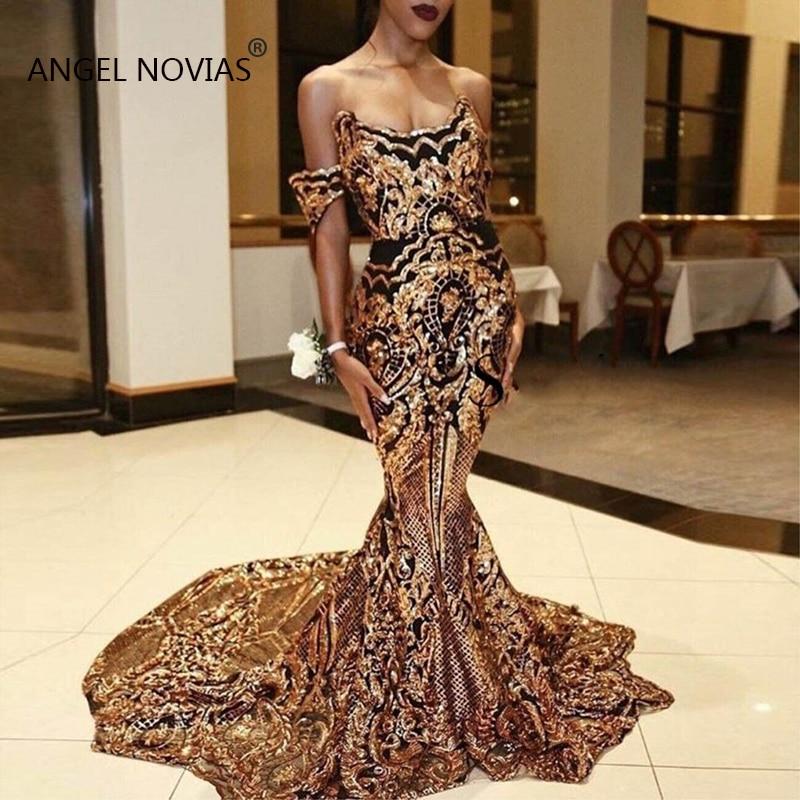 ANGEL NOVIAS Long Gold Abendkleider Mermaid Embroidery Sequins Lace   Evening     Dresses   2019 Vestido De Fiesta Largos De Noche
