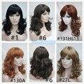 Женская черный / русое Mix сторону взрыва слоистых длинные волнистые парик волос бесплатная доставка