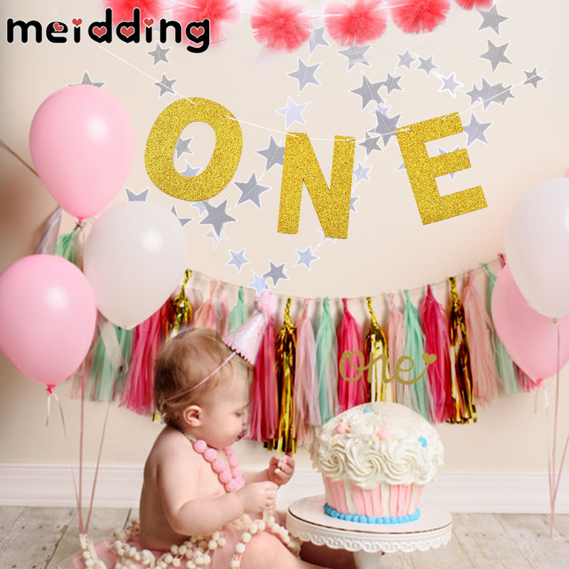 MEIDDING 2018 New 1Set Gold/Silver Glitter ONE Garland Banners Kids 1 Year Old Birthday Party Decor Home Photo Props Supplies