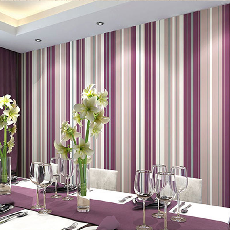 Girls Bedroom Wallpapers Modern 3D Vertical Stripe Wall Paper Background  Wall Decor For Living Room Bedroom Wall Covering Purple