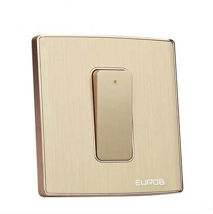 Wall Switch Socket Magnesium Aluminum Brushed Champagne Gold Panel 1 Gang 2 Way Switch AC 220 250 10A in Switches from Lights Lighting