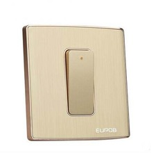 Wall Switch Socket Magnesium Aluminum Brushed Champagne Gold Panel 1 Gang 2 Way Switch, AC 220-250 10A