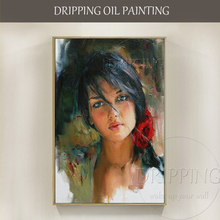 Hand-painted High Quality Beauty Portrait Oil Painting on Canvas Beautiful Spanish Lady Figure for Living Room