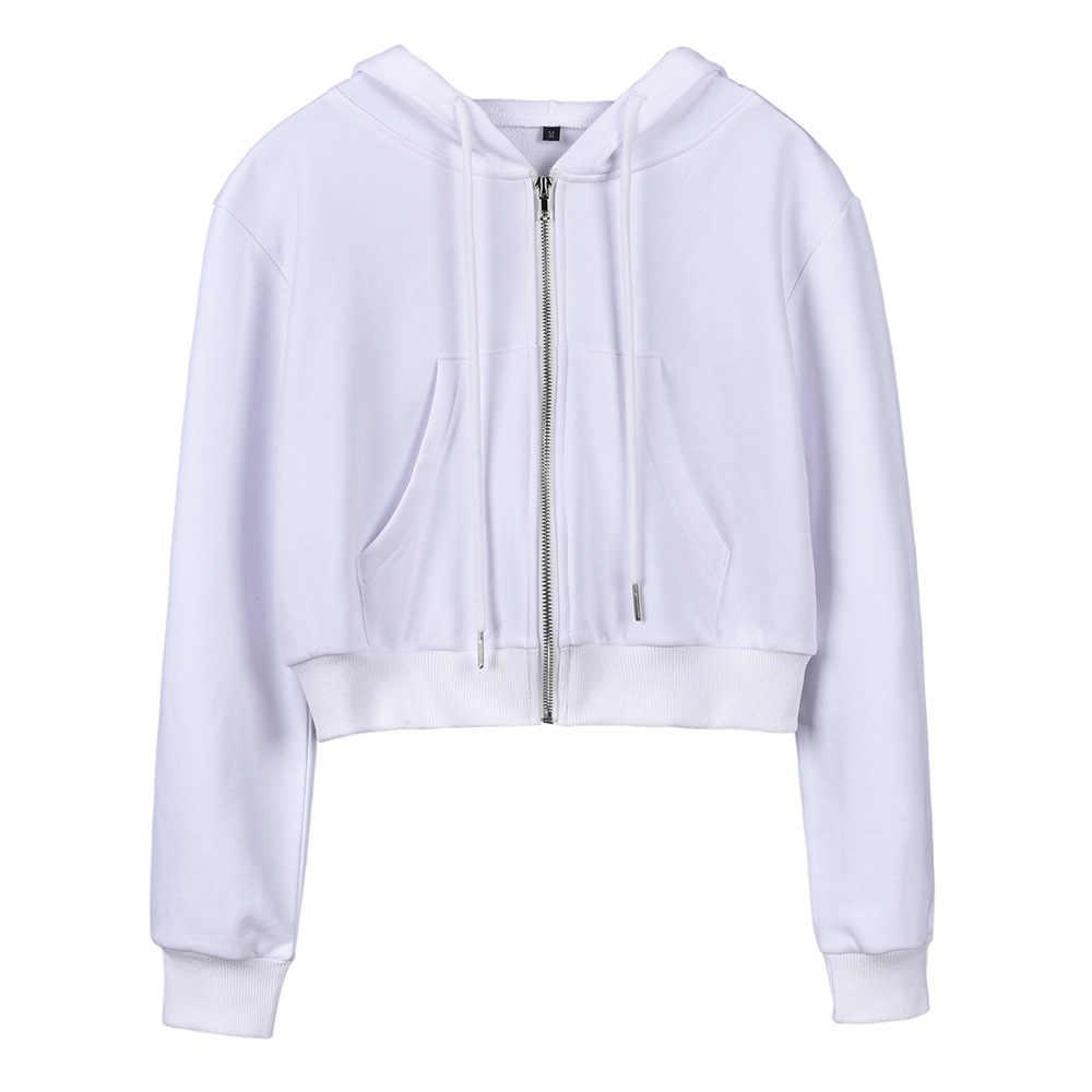 ... Autumn Winter female crop Sweatshirt Plain Polerones 2019 Jersey women  Zip Cropped Hoodie sweat shirt H0043 7da210b42ba6