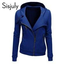 Sisjuly кофты сплошной молния верхняя толстовки капюшоном куртка длинным пальто осень