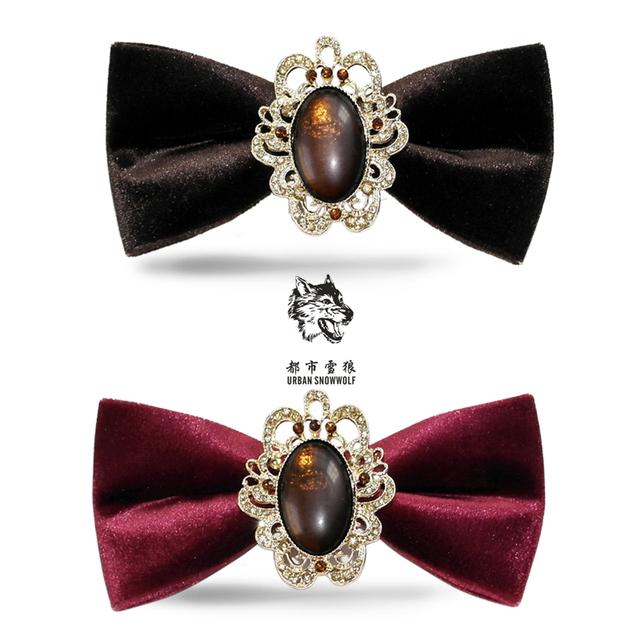Nova Envio Gratuito de moda masculina Dos Homens Vinho Tinto Palácio retro gemas boutique de veludo com diamante gravata borboleta nó casamento do noivo cadeira