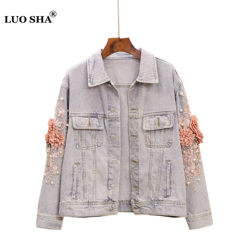 LUOSHA Women Autumn Embroidery Pearl Beading 3D Flower Denim Jackets Female Single Breasted Casual Jeans Tops