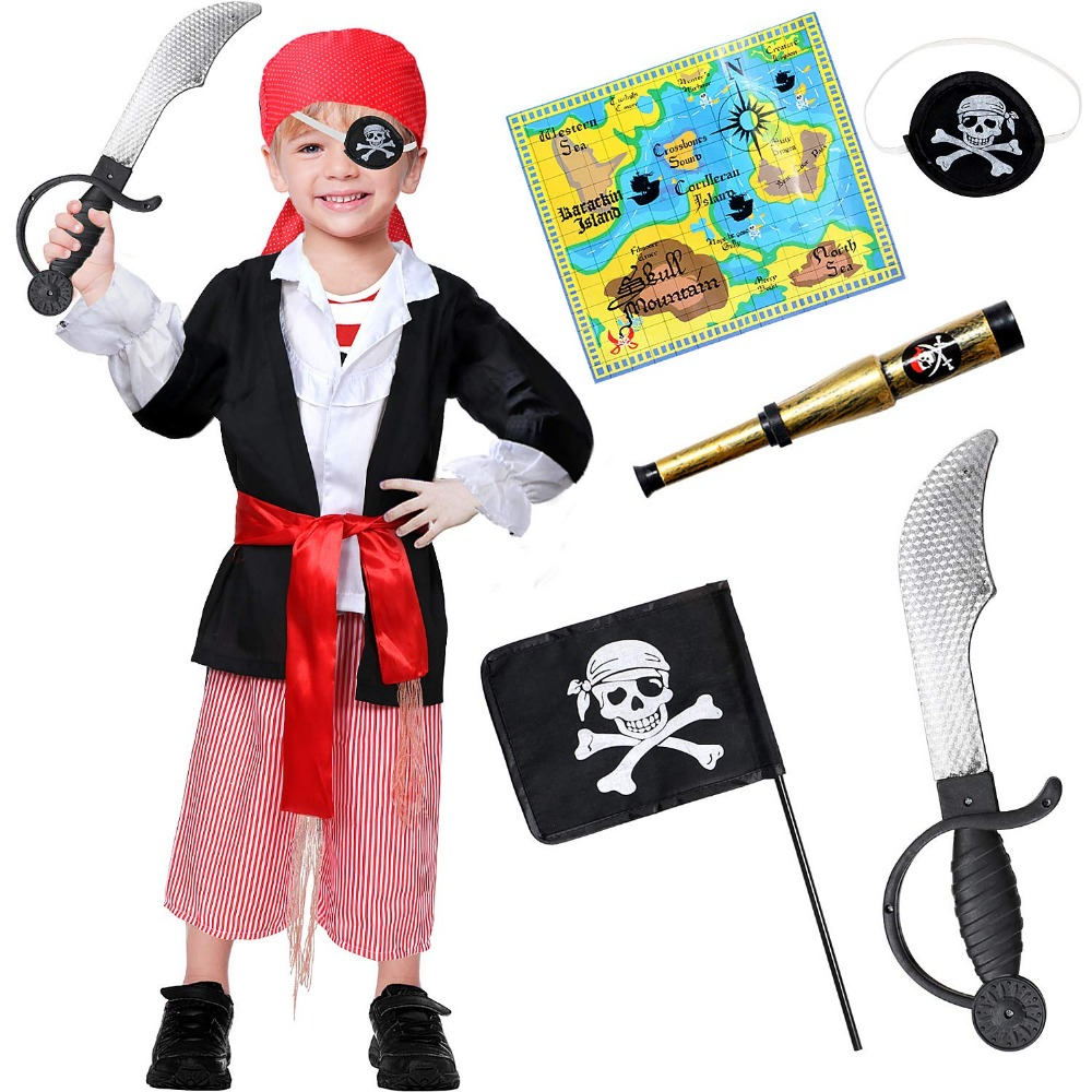 Bobasatop Pirate Costume for Kids with Accessories Set Halloween Fancy Dress Boy