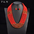 Amazing african beads jewelry set chain women Nigerian wedding crystal multi layer necklace/ earring Indian jewelry sets V047