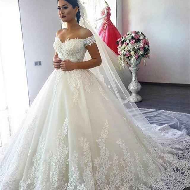 Vestido De Noiva Robe Mariee Luxueuse Manches Longues 2019 Bal Perles Dubai Arabe Robes Musulmanes