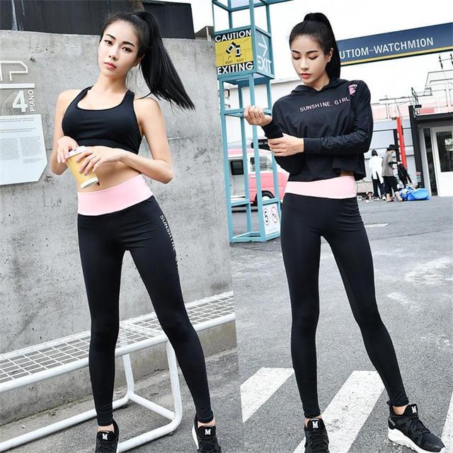 Kebugaran Wanita Hoodie Setelan Olahraga Yoga Set Hitam Lengan Panjang +  Kurus Legging + Bra 3 9964e566ac