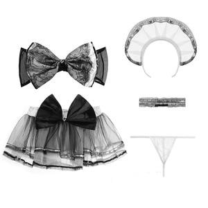Image 5 - Robe Lolita 5 pièces, ensemble de soutien gorge en maille et nœud papillon, Costume de Cosplay érotique, uniforme scolaire pour filles, ensemble de lingerie sexy Kawaii