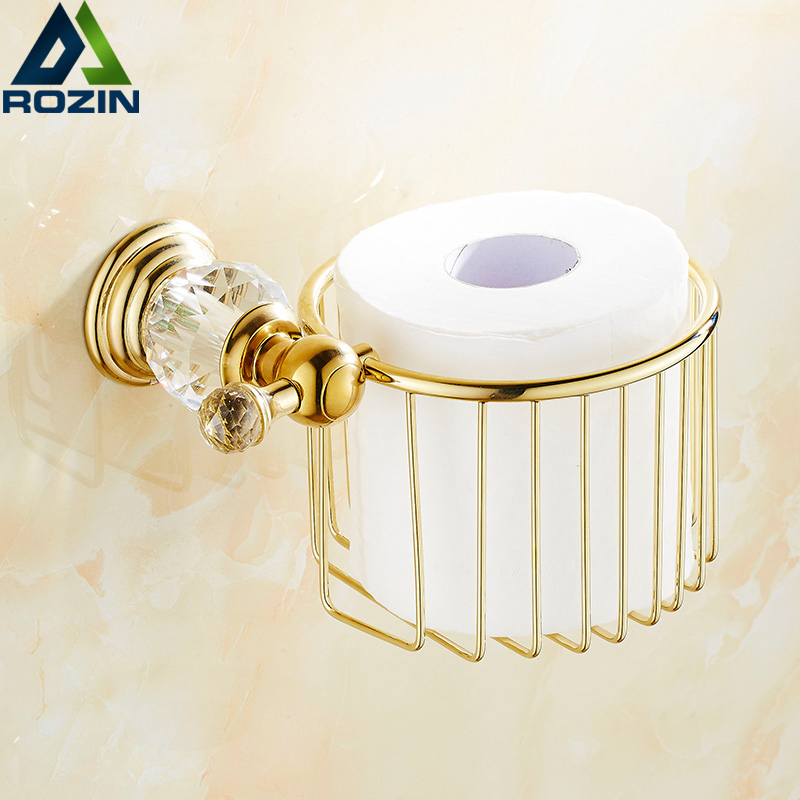 Gold Crystal Wall Mounted Toilet Paper Holders Brass WC Roll Paper Tissue Basket Bathroom Accessories free shipping wholesale and retail wall mounted toilet paper holders antique brass creative bathroom roll paper rack rod