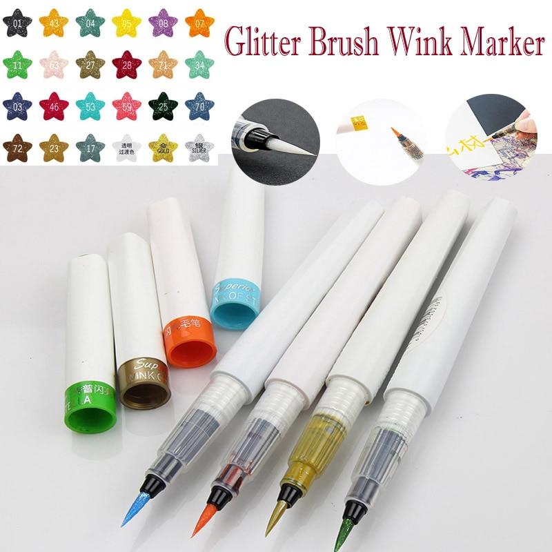 12/24 color Wink Marker For Drawing Pen Sparkle Shine Golden Silver Calligraphy metallic gold sliver fine tip Soft Brush Pen